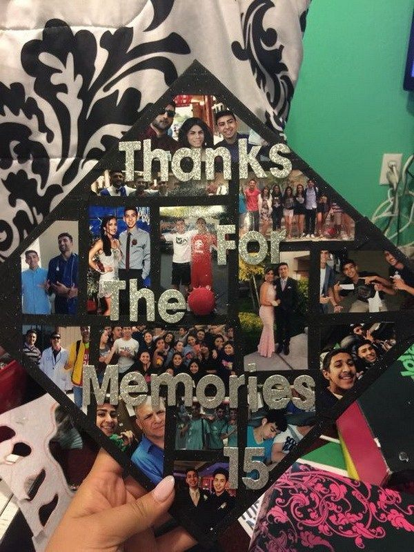 Picture Montage on Graduation Cap---40+ Awesome Graduation Cap Ideas.
