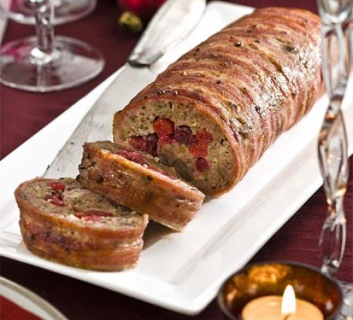 Chestnut & cranberry roll (stuffing in a roll, easily sliced, can be made ahead and frozen)