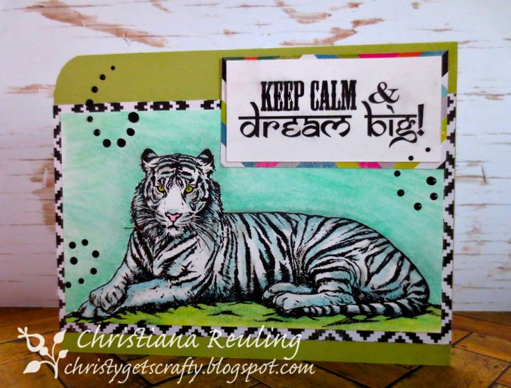 "Christy Gets Crafty | using Sheena's Taste of India ""Tiger, Tiger"" by Crafter's Companion, colored with Spectrum Noirs, blendable pencils"