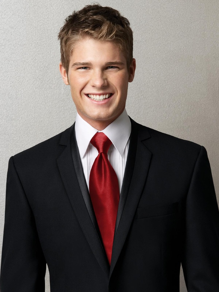 Groom and groomsmen tux with red tie the wedding day for Black suit with black shirt and tie