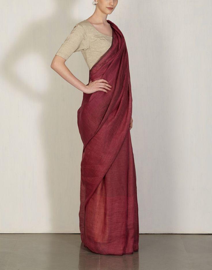 Beetroot Yarn Dye Sari Anavila: Pinned by Sujayita