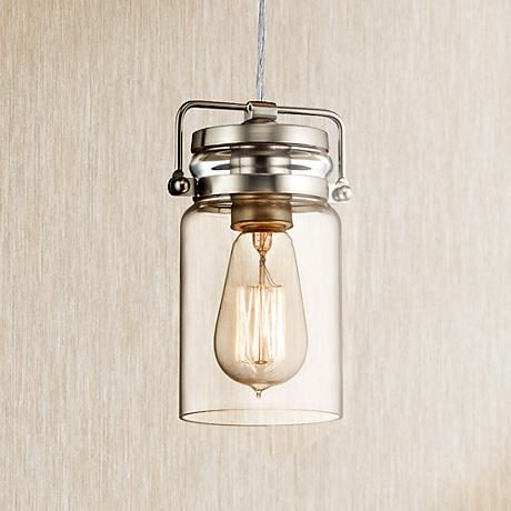 Kichler brinley 4 3 4 wide brushed nickel mini pendant