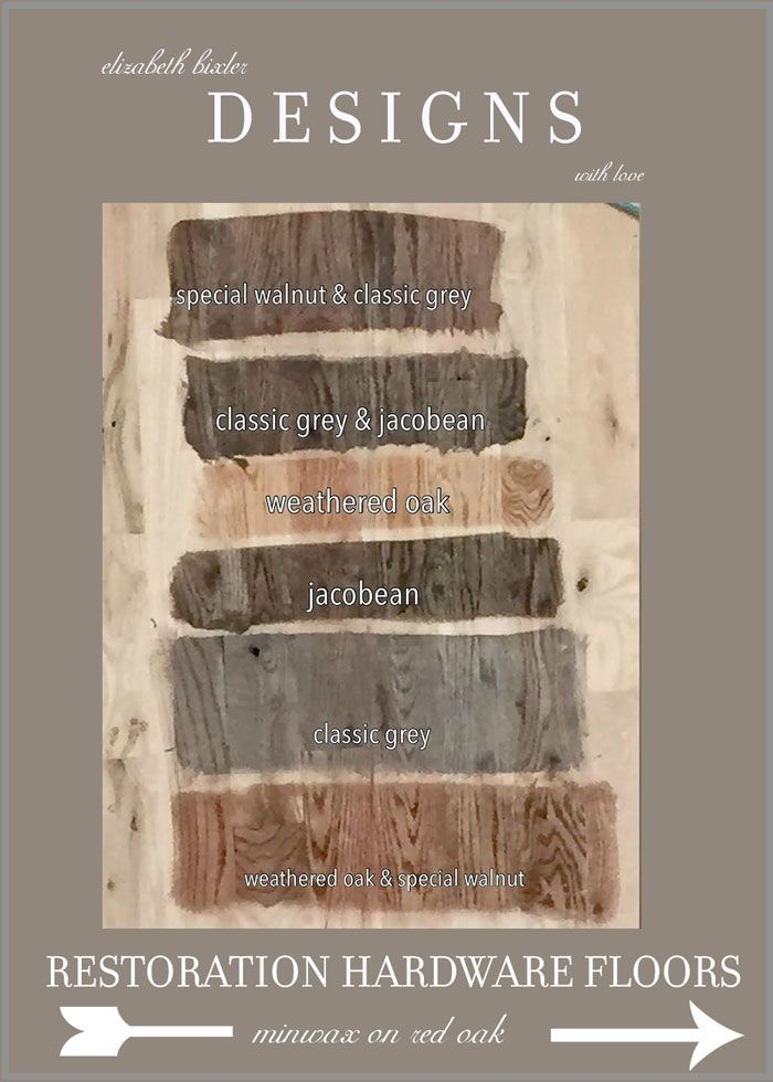 Rustic Restoration Hardware Floor Stain Hack using Minwax Swatches on Red Oak.  Which is your favorite? Classic Gray , jacobean, weathered oak, or special walnut http://elizabethbixler.com/minwax-stain-for-red-oak-floors/