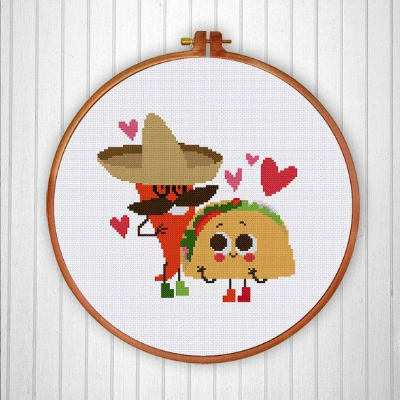 Mexican Food funny cross stitch design for food by ThuHaDesign