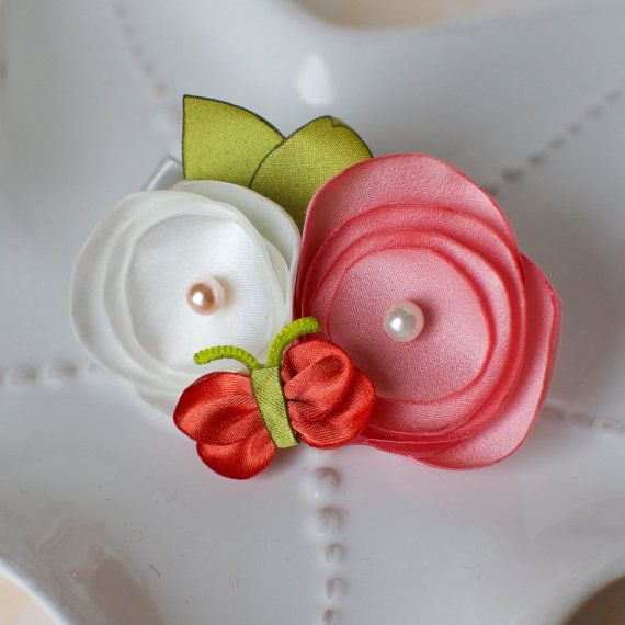 Girls Satin Flower Hair Clip with Butterfly for Spring- Coral Pink with Cream and Orange via Etsy
