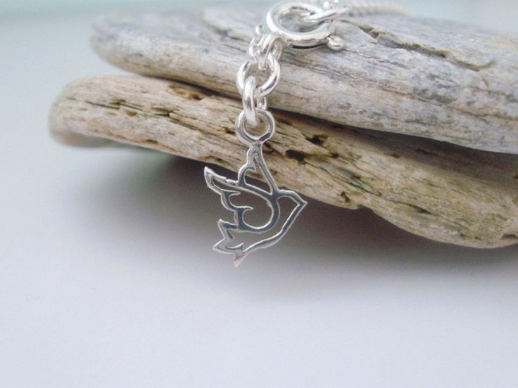 Sterling Silver Anklet & Dove Charm, Bird of Peace Charm Ankle Bracelet, Ankle Chain, girlfriend gift, bridesmaid gift, gift for women by funksionjewellery on Etsy