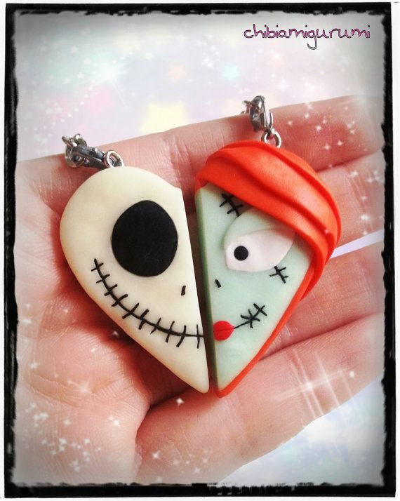 Halloween heart keychain polymer clay inspired by Chibiamigurumi