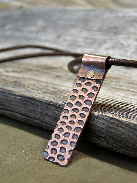Mens Necklace - Snake Skin Pendant - Copper Pendant - Mans Jewelry - Leather Necklace - Pendant Necklace - Tribal Native: