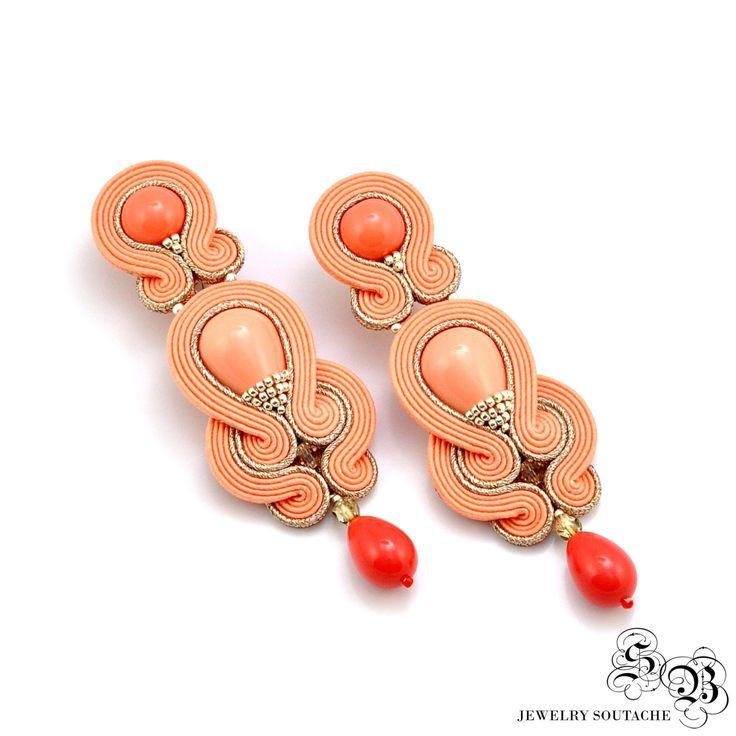 Long Clip-on Earrings, Peach Gold Soutache Earrings, Ellegant Clip On Earrings…