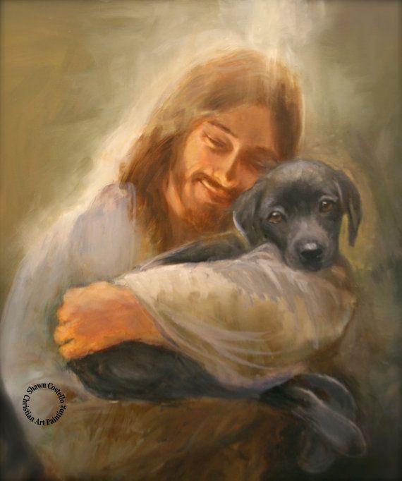Veilig in zijn eeuwige armen. Jezus met een zwarte lab hond.