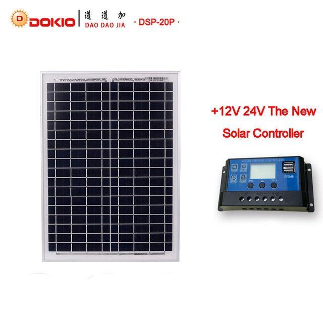 Dokio Brand 20w Solar Panel China 480x350x17mm Size 18v Solar Battery China Polycrystalline Silicon Paneles Solares Revi Solar Battery Solar Power Panels Solar