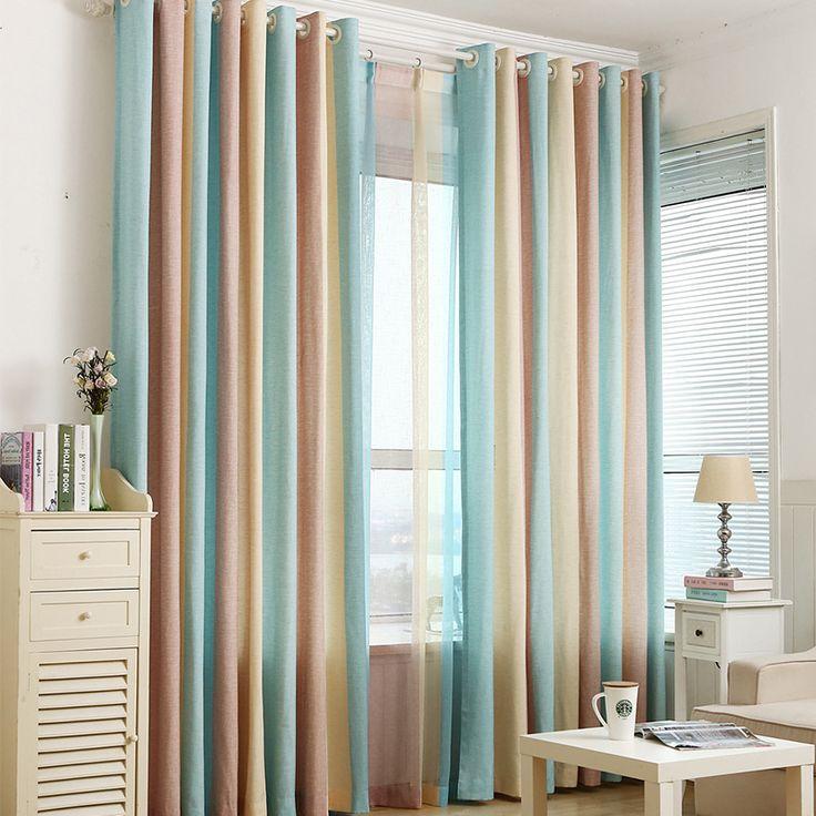 1 шт. синий полосатый жалюзи, шторы для спальни современная детская шторы для гостиной Шторы Гардина индивидуальный заказ купить на AliExpress