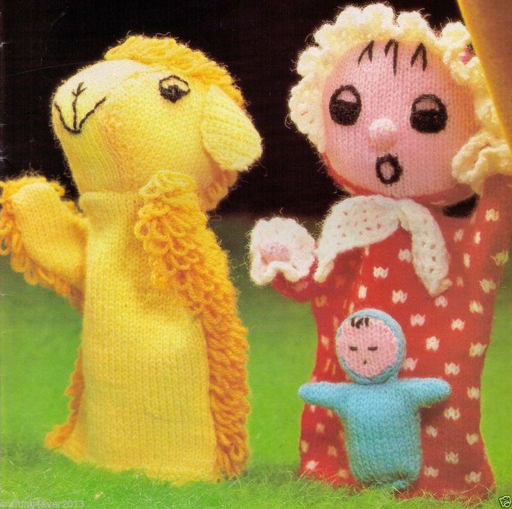 VINTAGE SHEEP AND SHEPHERDESS GLOVE HAND PUPPETS TEACHERS 4 PLY KNITTING PATTERN