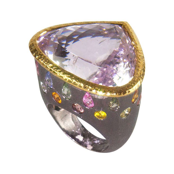 Kunzite and Multi Gem Sterling Silver Black Rhodium Ring....I need it NOW!