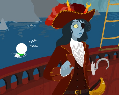 Peter Pan and Homestuck. Vriska as Captain Hook and Doc Scratch as the Crocodile.
