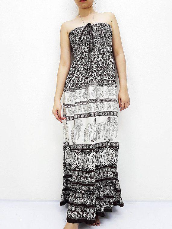 0b66abaae Women Maxi Dress Gypsy Dress Boho Dress Hippie Dress Summer Beach Dress  Long Dress Party Dress Clothing Printed Elephant Brown (DL43) in 2019 | Etsy