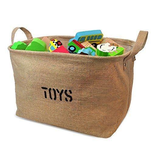 Medium Size Jute Storage Bin for Toy Storage - Storage Basket for organizing Baby Toys Kids Toys Baby Clothing