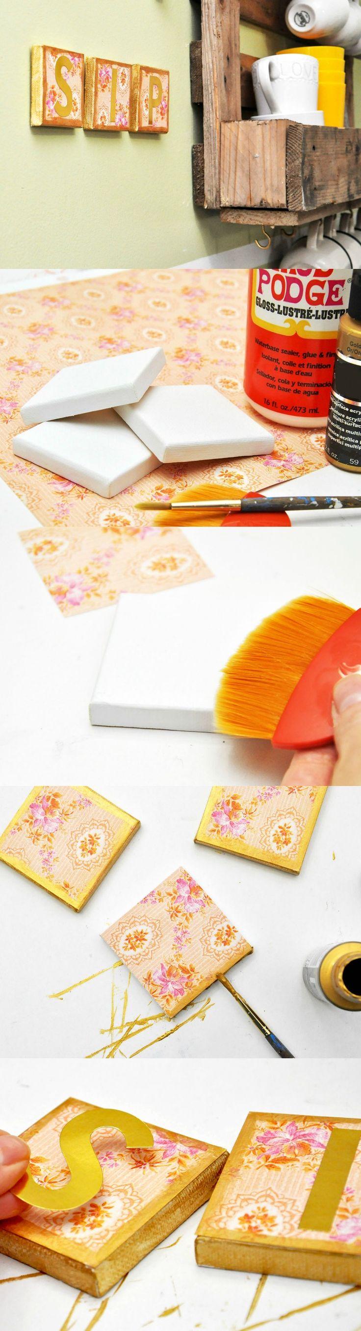 How to scrapbook canvas - Decoupage Sip Diy Canvas Art