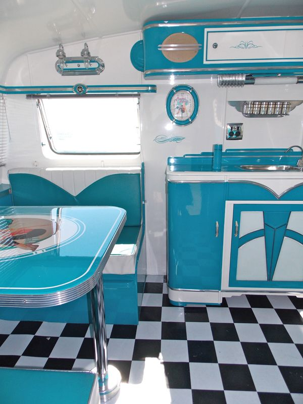 like the glossy white and bright blue  Vintage Caravan Style via http://www.simplyfreshvintage.com/