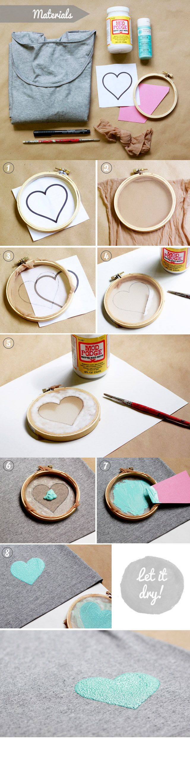 Diy screenprinting shirt modge podge fabric paint embroidery hoop