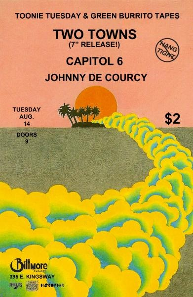 TOONIE TUESDAY! TOONIE TUESDAY! Two Towns, Capitol 6 & John De Courcy at Biltmore Cabaret