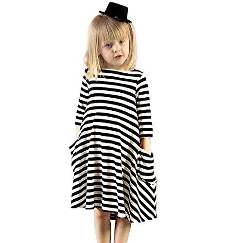 Big Girl Princess Dress Long Sleeve Black White Stripe O Neck Casual Irregular Dresses for Baby Toddler Princess Children Clothing Stripe 90 * You can get additional details at the image link.Note:It is affiliate link to Amazon.