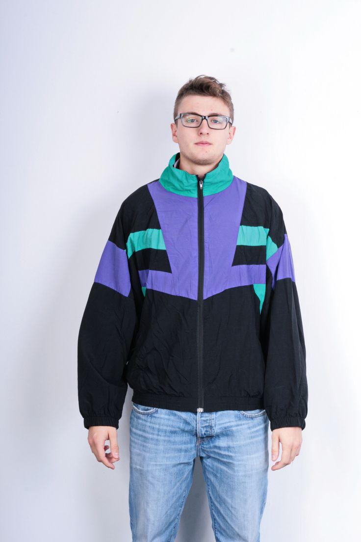 Tactel Mens L Jacket Track Top Bomber Black Nylon Waterproof Festival Vintage