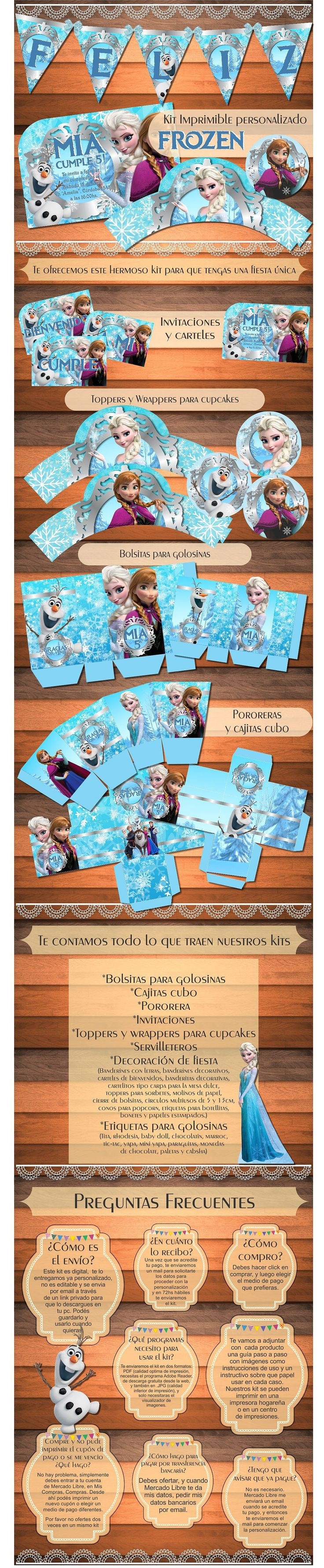 Kit Imprimible Personalizado Frozen Anna Elsa Candy Bar - $ 150,00