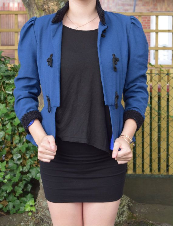 Blue vintage jacket 80's EA38 by FamousApe on Etsy