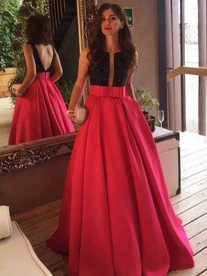 Sexy Red Princess Scoop Neck Satin Sashes / Ribbons Sweep Train Backless Ball Dresses #PLS020102999