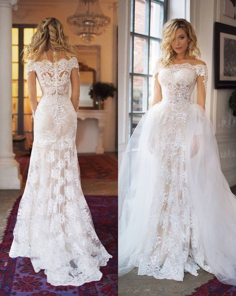 train wedding dress Nektaria ,off the shoulder long sleev wedding dress , mermaid lace wedding