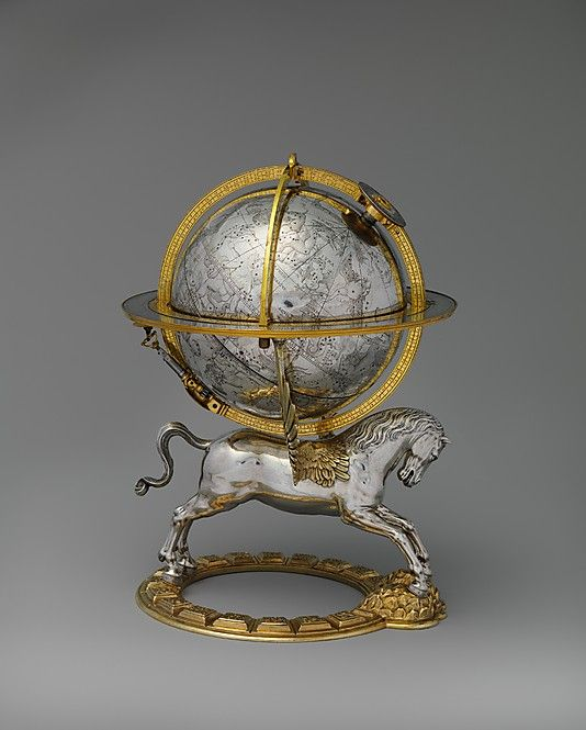 Gerhard Emmoser  (working 1556–died 1584) - Celestial Globe on Pegasus Support, with Clockwork Movement. Vienna, Austria. Circa 1579. Case: Silver, partly Gilded, and Gilt Brass; Movement: Brass and Steel. The Movement Rotated in the Celestial Sphere and drove an image of the Sun along the path of the Ecliptic. The Hour was indicated on a Dial mounted on top of the Globe's Axis, the Day appeared on a Calendar Rotating in the Instrument's Horizon Ring. The Metropolitan Museum of Art, New…