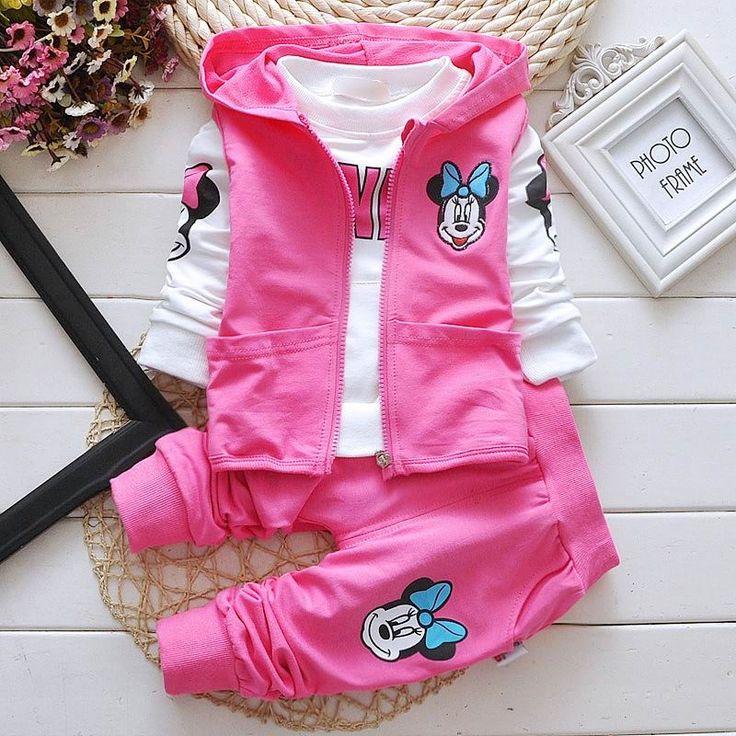 51.62$  Buy here - 2016 Autumn New Cartoon Mini Mouse Girl Three Sets Waistcoat+Tshirts+Pants Baby Clothing 1-4T 8003  #aliexpresschina