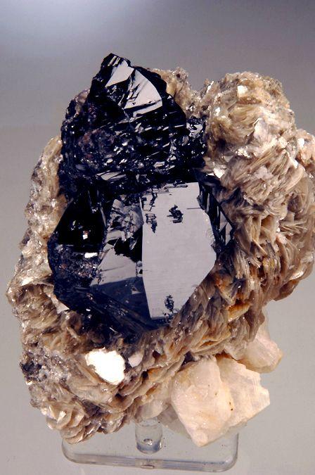 Cassiterite (unusual prismatic) on Muscovite with Albite Mt. Xuebaoding, Pingwu, Huya Sichuan, China