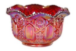 Smith Glass Co. Geometric Red Carnival Glass Bowl.