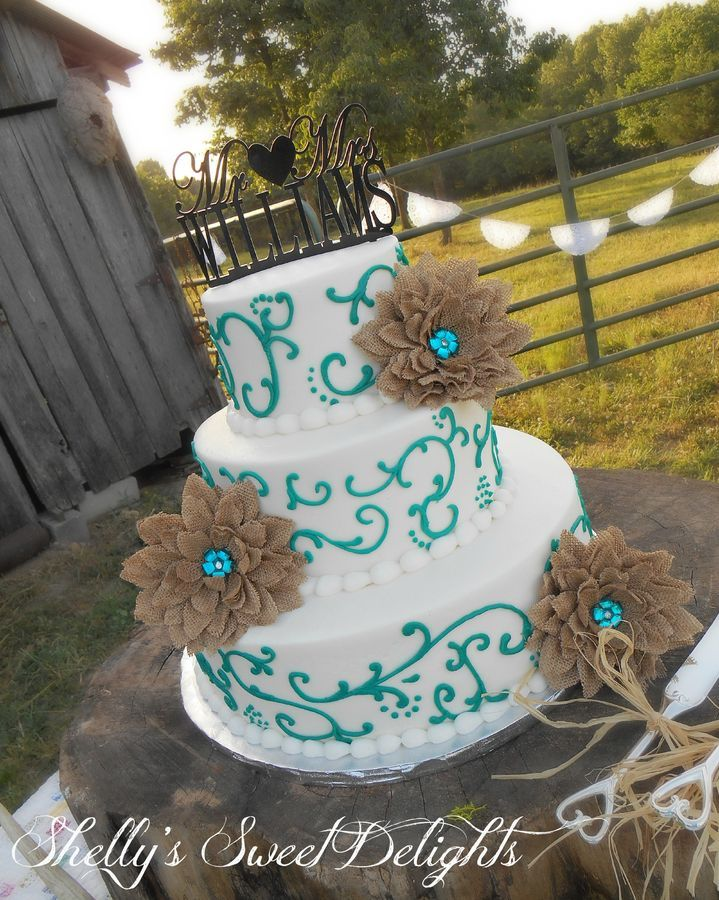 burlap wedding cake | Teal Scrolls and Burlap Flowers — Round Wedding Cakes