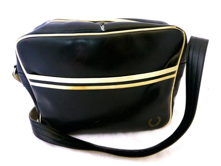 FRED PERRY Mens Black & Cream Trim Faux Leather Crossbody Messenger Bag SALE in Clothes, Shoes & Accessories, Men's Accessories, Bags   eBay