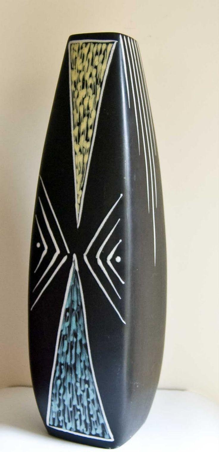 Burgundia vase, designed by Holm Sørensen and decorated by Svend Aage Jensen 55cm