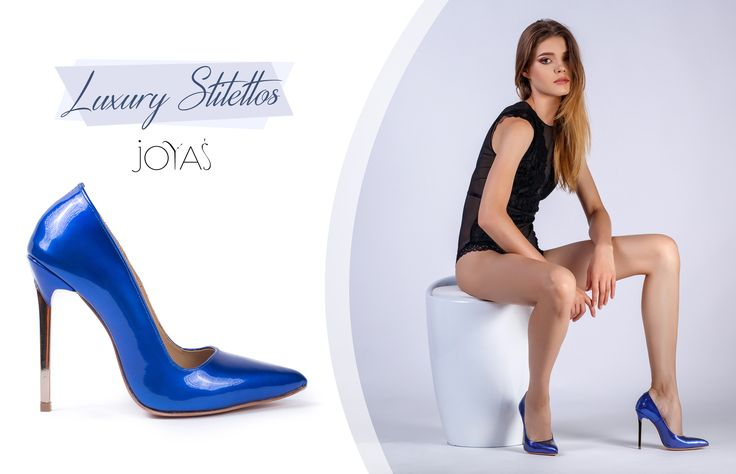 Choose a royal blue pair of shoes with golden high heels  @jo