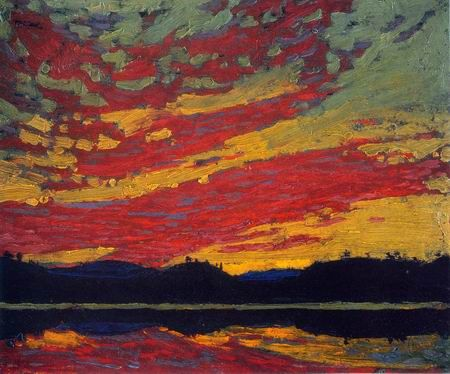 Sunset, 1915 Tom Thomson  Canadian, 1877 - 1917  oil on grey wood-pulp board 21.6 x 26.7 cm Bequest of Dr. J.M. MacCallum, Toronto, 1944 National Gallery of Canada (no. 4701)