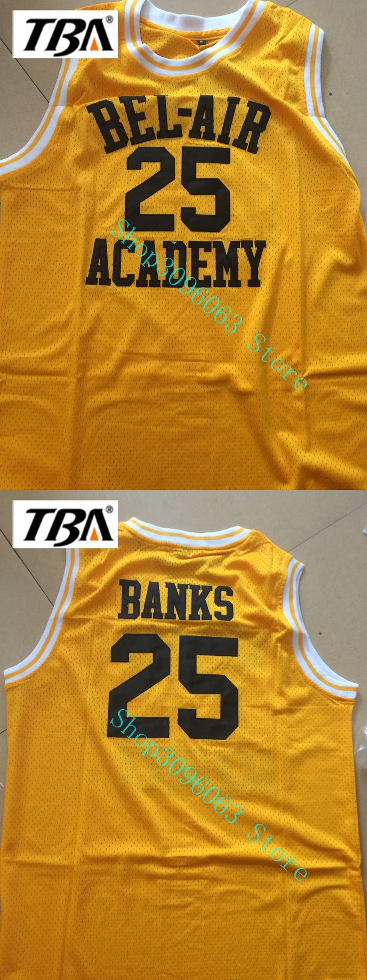 NEW Academy Prince of BEL AIR Jersey, #25 Banks Cheap Film Throwback Basketball Jerseys,Stitched Movie retro Yellow jersey