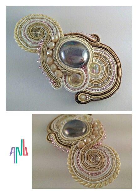 Handmade ANU Jewelry,  Soutache Brooch, Glass Pebble, Czech Crystal, Beads