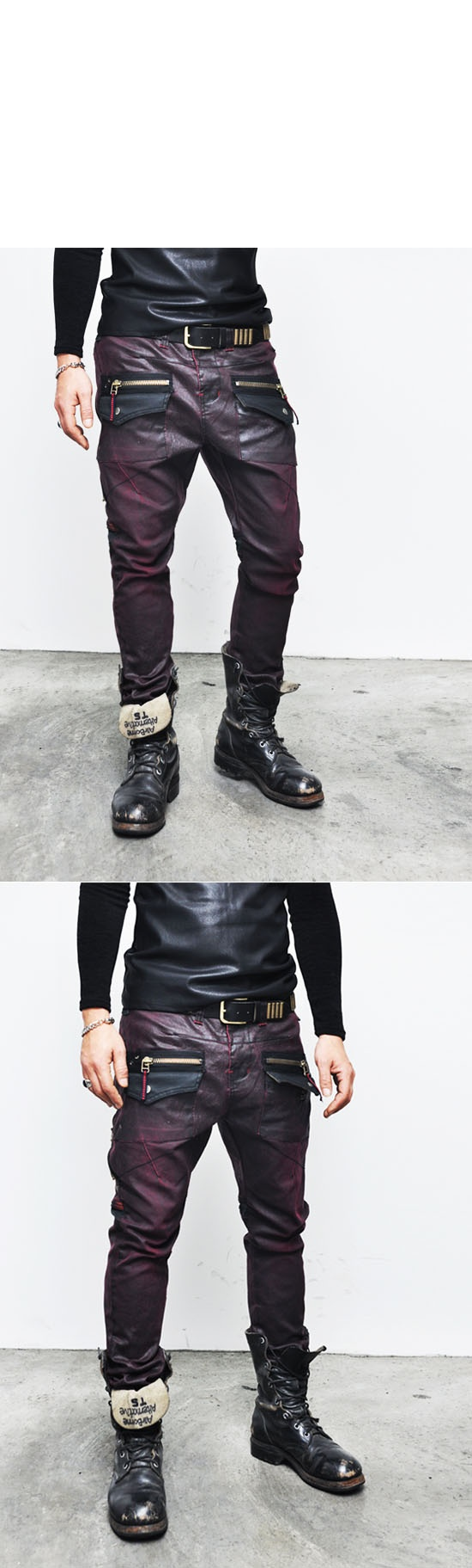 Bottoms :: Jeans :: Wax Coated Red Slim Zipper Baggy-Jeans 121 - Mens Fashion Clothing For An Attractive Guy Look