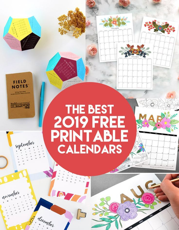 Unique Calendars 2019 The Best 2019 Free Printable Calendars | Ultimate Crafts and DIY's