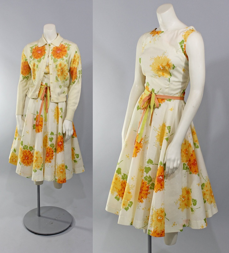 1950s Vintage Dress...Garden Party Yellow Floral Print Summer Dress Full Circle Skirt Matching Sweater Size S.