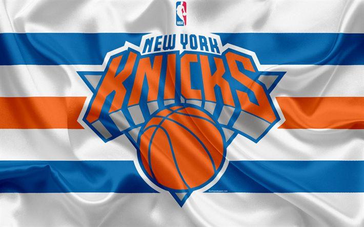 Download wallpapers New York Knicks, basketball club, NBA, emblem, logo, USA, National Basketball Association, silk flag, basketball, New York, USA basketball league, Atlantic Division
