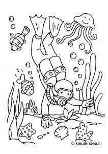 Duiker onder water, kleurplaat voor kleuters, thema