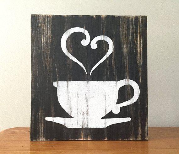 Kitchen Decor B W Coffee Decor Tea Decor Coffee Cup Tea Cup Rustic Wall Decor Farmhou Tea Decor Coffee Decor Pallet Art