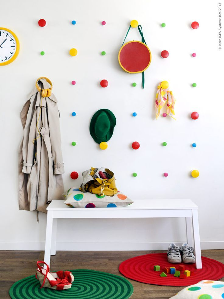 Awesome pegs-in-the-wall idea for a kids bedroom! || homesweetener.com: Wall Hooks, Polka Dots, Idea, For Kids, Color, Paintings Wood, Knobs, Hooks Wall, Kids Rooms