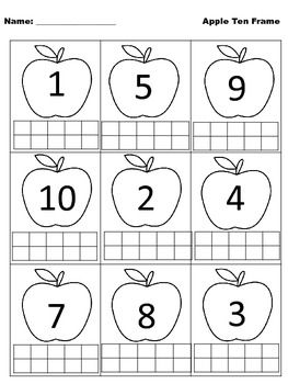 Apples/leaves/pumpkins tens frames. Q tip painting